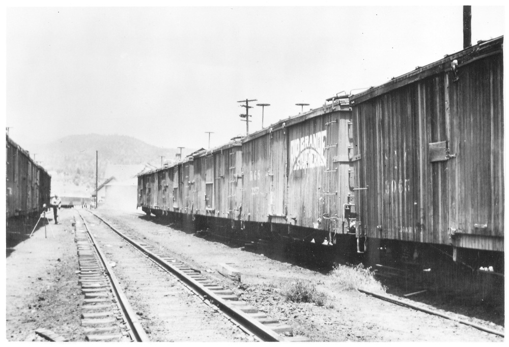 "Durango yard scene of box car string including D&RGW #3055 (paritial) and RGS #3257.  According to Richard Dorman, this was most likely a hoax lettering job (see ""Durango"" p. 172).<br /> D&RGW & RGS  Durango, CO  Taken by Pollack, Tom - ca. 1948<br /> See also RD054-029 for a better view of #3257."