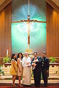 Family and friends celebrate the Baptism of Diego Marcelino at St. John the Baptist Church in Napa, California, on September 13, 2014. (Stan Olszewski/SOSKIphoto)