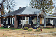 Ramshackle, rundown Delta home in Clarksdale, birthplace of the Blues, Mississippi USA