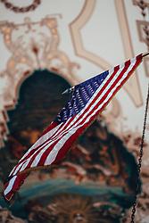 THEMENBILD - eine amerikanische Flagge in der St. Louis Kathedrale, aufgenommen am 14.08.2019, New Orleans, Vereinigte Staaten von Amerika // an American flag in the St. Louis Cathedral, New Orleans, United States of America on 2019/08/14. EXPA Pictures © 2019, PhotoCredit: EXPA/ Florian Schroetter