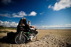 Bicycling Manzanita Beach, Oregon,