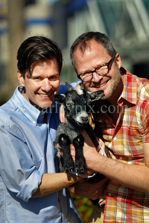 16 January 2016. New Orleans, Louisiana.<br /> The Fabulous Beekman Boys. L/R; Brent Ridge and Josh Kilmer-Purcell with goats.<br /> Photo©; Charlie Varley/varleypix.com