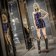 2010 edition of the Vogue Feshion Out in Milan<br /> Model as dummy in Versace's window.