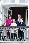 16.04.2016. Copenhagen, Denmark.<br /> Crown Prince Frederik and Crown Princess Mary of Denmark, with their children Princess Josephine, Princess Isabella, Prince Vincent and Prince Christian appear on the Balcony of Amalienborg Palace on The 76th Birthday of Queen Margrethe II of Denmark<br /> Photo:© Ricardo Ramirez