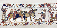 Bayeux Tapestry  Scene 14 - Harold arrives at the gates of Duke Williams castle, BYX14,