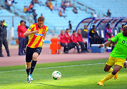 May 12, 2017 - Rades, Tunisia - Fakhreddine Ben Youssef(L)  of  (EST)and Mutamba Lomalisa (13)l of the Vita club during the First day of the group stage of the Champions League  2017 Total  between Esperance Sportive de Tunis (EST) and the formation of AS Vita Club (RD Congo) at the Rades stadium..The Esperance Sportive de Tunis (EST) won by 3/1. (Credit Image: © Chokri Mahjoub via ZUMA Wire)