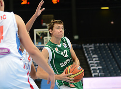 Nejc Zupan of Slovenia during basketball match between National teams of Serbia and Slovenia in Division A of U16 Men European Championship Lithuania 2012, on July 21, 2012 in Panevezys, Lithuania. (Photo by Robertas Dackus / Sportida.com)