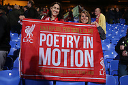 """Liverpool fans celebrate after the final whistle as they hold up their banner """"Poetry in Motion"""". Premier League match, Crystal Palace v Liverpool at Selhurst Park in London on Saturday 29th October 2016.<br /> pic by John Patrick Fletcher, Andrew Orchard sports photography."""