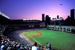 Stock photo of Minute Maid Park (formerly Enron Field) during an evening baseball game