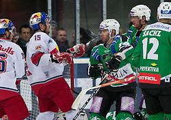 08.03.2011, Volksgarten, Salzburg, AUT, EBEL, EC Red Bull Salzburg vs HDD TILIA Olimpija Ljubljana, im Bild Auseinandersetzung Manuel Latusa , (EC Red Bull Salzburg, (# 15) vs Matej Hocevar, (HDD TILIA Olimpija Ljubljana, (# 14)  // during the Eishockey Erste Bank Playoff Match between EC Red Bull Salzburg vs HDD TILIA Olimpija Ljubljana on 08/03/2011, EXPA Pictures © 2011, PhotoCredit: EXPA/ J. Feichter
