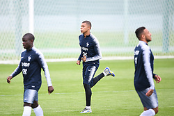 MOSCOW, July 4, 2018  France's Kylian Mbappe (C) attends a training session near Moscow, Russia, on July 4, 2018. France will face Uruguay in a quarter-final match of the 2018 FIFA World Cup on July 6. (Credit Image: © Du Yu/Xinhua via ZUMA Wire)