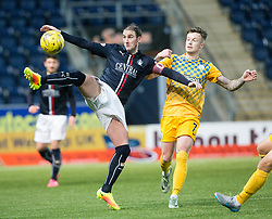 Falkirk's Mark Kerr and Morton's Gary Oliver. Falkirk 0 v 1 Morton, Scottish Championship game played 18/3/2017 at The Falkirk Stadium.