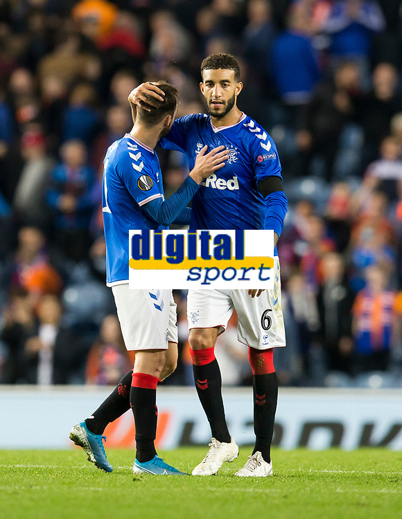 Football - 2019 / 2020 UEFA Europa League - Group G: Rangers vs. Feyenoord<br /> <br /> Connor Goldson of Rangers and Brandon Barker of Rangers celebrate at full time, at Ibrox<br /> COLORSPORT/BRUCE WHITE