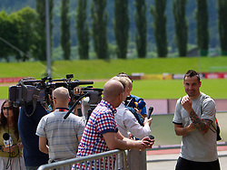 27.05.2012, Dolomitenstadion, Lienz, AUT, UEFA EURO 2012, Trainingscamp, Polen, Training, im Bild Marcin Wasilewski (POL) gibt Interview // Marcin Wasilewski of Poland during second training of polish National Footballteam for preparation UEFA EURO 2012 at Dolomitenstadion, Lienz, Austria on 2012/05/27. EXPA Pictures © 2012, PhotoCredit: EXPA/ Johann