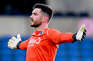 Bristol Rovers goalkeeper (on loan from Cardiff City) Joe Day (13) stands with his arms wide during the EFL Sky Bet League 1 match between Oxford United and Bristol Rovers at the Kassam Stadium, Oxford, England on 23 January 2021.