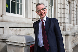 © Licensed to London News Pictures. 07/05/2019. London, UK. Secretary of State for Environment, Food and Rural Affairs Michael Gove arrives at the Cabinet Office on Whitehall for a meeting of the Cabinet. Cross-party talks with Labour on reaching a compromise Brexit deal will resume today. Photo credit: Rob Pinney/LNP