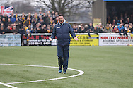 Sutton United manager Paul Doswell gets the crowd going prior The FA Cup match between Sutton United and AFC Wimbledon at Gander Green Lane, Sutton, United Kingdom on 7 January 2017. Photo by Stuart Butcher.