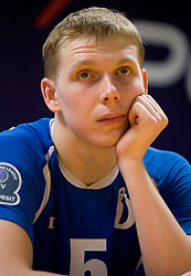 Sergey Grankin of Dinamo at press conference after the 1st Semifinal match of CEV Indesit Champions League FINAL FOUR tournament between PGE Skra Belchatow, Poland and Dinamo Moscow, Russia, on May 1, 2010, at Arena Atlas, Lodz, Poland. (Photo by Vid Ponikvar / Sportida)