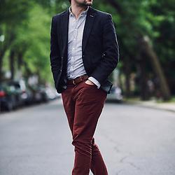 Montreal, QC, Canada. June 7, 2015. Gabriel Nadeau-Dubois, a young student activist, in a street. Photo: Antoine Doyen