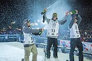 Seb, yuki and stale at Snowboard Finals at Air & Style LA at the Rose Bowl in Pasadena, CA. ©Brett Wilhelm/ESPN