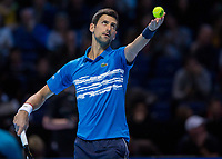 Tennis - 2019 Nitto ATP Finals at The O2 - Day One<br /> <br /> Singles Group Bjorn Borg: Novak Djokovic vs. Matteo Berrettini<br /> <br /> Novak Djokovic (Serbia) serves during the first set<br /> <br /> COLORSPORT/DANIEL BEARHAM