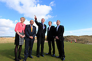Kathryn Thomson, Chief Operating Officer, Tourism Northern Ireland, Colm McLoughlin, Executive Vice Chairman, Dubai Duty Free,  Captain RCD Kenneth McCaw, George O'Grady, Chief Executive, European Tour, and Barry Funston Chief Ececutive, Rory Foundation,at the announcement of title sponsor for the Irish Open  to be the Dubai Duty Free Irish Open, to be held at Royal Co Down Golf Club, Newcastle, Co Down, Northern Ireland.<br /> Picture: Fran Caffrey / Golffile
