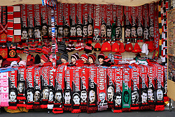 13th August 2017 - Premier League - Manchester United v West Ham United - Scarves, hats and other memorabilia items for sale on a souvenir stall - Photo: Simon Stacpoole / Offside.