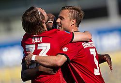 Målscorer Rasmus Falk (FC København) jubler med Mohamed Daramy og Pierre Bengtsson efter scoringen til 0-1 under kampen i 3F Superligaen mellem Lyngby Boldklub og FC København den 1. juni 2020 på Lyngby Stadion (Foto: Claus Birch).
