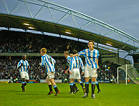 Photo. Jed Wee, Digitalsport<br /> NORWAY ONLY<br /> <br /> Huddersfield Town v Lincoln City, Nationwide League Division Three Playoff Semi-finals Second Leg, 19/05/2004.<br /> Huddersfield's Andy Holdsworth celebrates after Huddersfield draw level on aggregate.