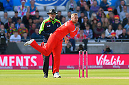 Liam Livingstone of Lancashire bowling during the Vitality T20 Finals Day Semi Final 2018 match between Worcestershire Rapids and Lancashire Lightning at Edgbaston, Birmingham, United Kingdom on 15 September 2018.