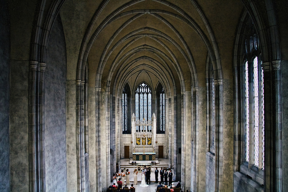 A stunning view inside Trinity College Chapel. A happy couple weds.