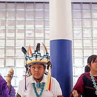 052413       Cable Hoover<br /> <br /> Katelyn Kallestewa, left, Zachary James and Amanda Paquin perform traditional dances during the Zuni Middle School art show in Zuni Friday.
