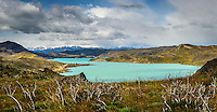 The northern shore of Lake Pehoe in Torres del Paine National Park, Chile.
