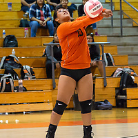 Shalayna Thomas, #10, bumps the ball for the Bengals to protect the back line after a Navajo Prep serve on Wednesday night at Gallup High School in Gallup.