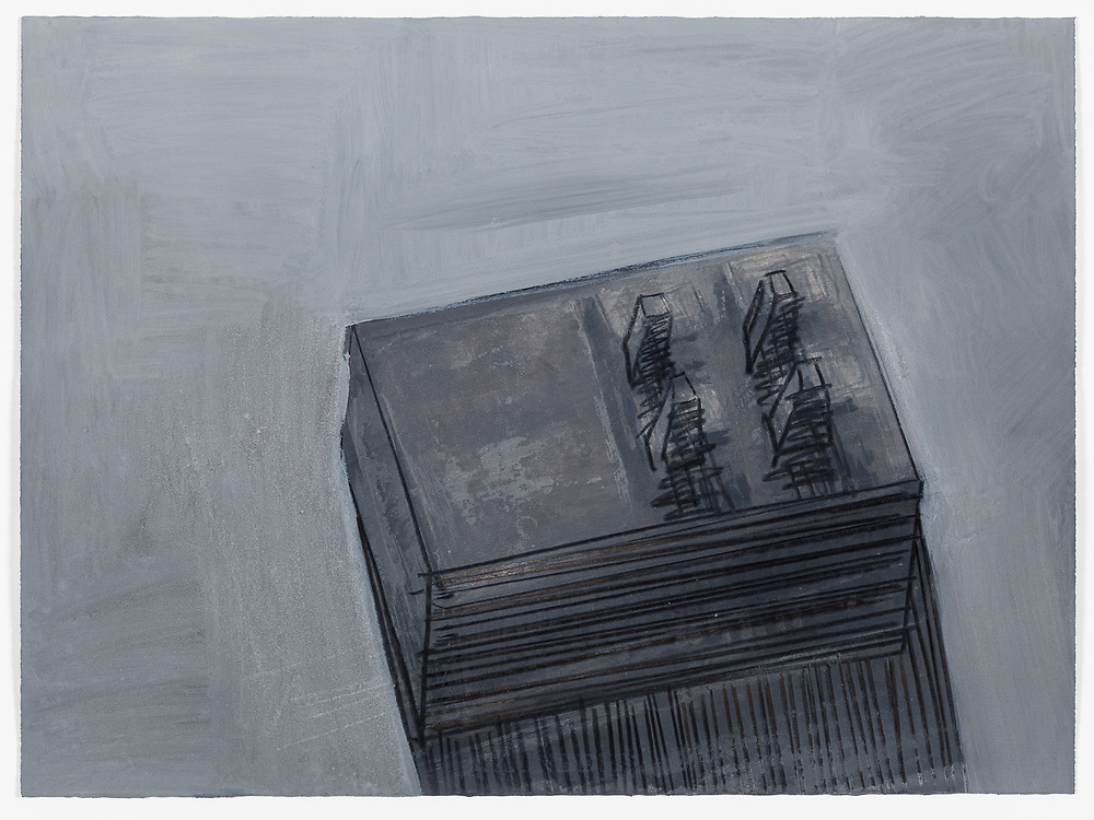 Indian ink, acrylic and compressed charcoal on paper by Peter Abrahams, 56 x 76 cm