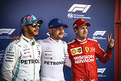 May 11, 2019 - Barcelona, Catalonia, Spain - LEWIS HAMILTON (GBR) from team Mercedes, 2nd, VALTTERI BOTTAS (FIN) from team Mercedes, pole and SEBASTIAN VETTEL (GER) from team Ferrari, 3rd, pose for a photo after the qualifying session of the Spanish GP at Circuit de Catalunya (Credit Image: © Matthias Oesterle/ZUMA Wire)