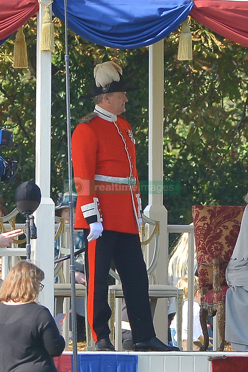 Hugh Bonneville and Elizabeth McGovern, aka Lord and Lady Crawley, are seen on the set of Downton Abbey The Movie filming in Wilstshire tody.<br /><br />25 September 2018.<br /><br />Please byline: Vantagenews.com