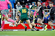New Zealand's Jordan Kahu gets it down in the corner to score a try during the Ladbrokes Four Nations match between Australia and New Zealand at Anfield, Liverpool, England on 20 November 2016. Photo by Craig Galloway.