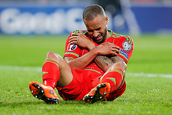 Ashley Williams (Capt) of Wales (Swansea City) whinces - Photo mandatory by-line: Rogan Thomson/JMP - 07966 386802 - 12/06/2015 - SPORT - FOOTBALL - Cardiff, Wales - Cardiff City Stadium - Wales v Belgium - EURO 2016 Qualifier.