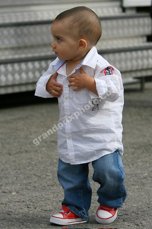 Juan Pablo Montoya's son Sebastien before the 2006 Spanish Grand Prix at the Circuit de Catalunya outside Bardelona. Photo: Grand Prix Photo