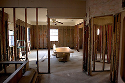 03 November, 2005. New Orleans, Louisiana.  Post Katrina. <br /> Inside the gutted, skeletal remains of a Saint Bernard parish home flooded out by Katrina. Hurricane Katrina caused a 20ft tidal surge to sweep over the land, devastating much of the parish.<br /> Photo; ©Charlie Varley/varleypix.com