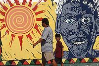Belize. Belize City.<br /> Mural de arte pop en una calle Belize City.<br /> <br /> © JOAN COSTA.