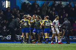 Cardiff Blues Celebrate their victory at the final whistle of Toulouse - Mandatory by-line: Craig Thomas/JMP - 14/01/2018 - RUGBY - BT Sport Cardiff Arms Park - Cardiff, Wales - Cardiff Blues v Toulouse - European Rugby Challenge Cup