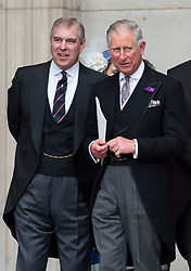 Prince Andrew, Duke of York and Prince Charles, Prince of Wales, attend the Queen's Diamond Jubilee Service of Thanksgiving at St. Paul's Cathedral in London on June 5, 2012.