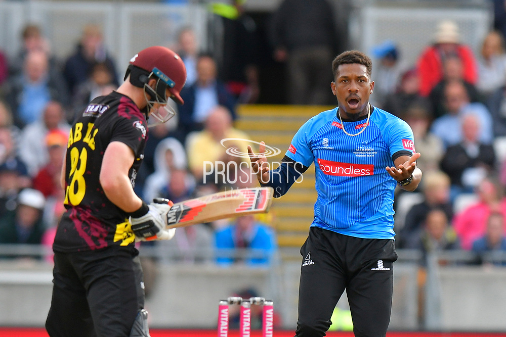 Chris Jordan of Sussex reacts during the Vitality T20 Finals Day semi final 2018 match between Sussex Sharks and Somerset County Cricket Club at Edgbaston, Birmingham, United Kingdom on 15 September 2018.