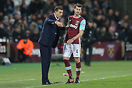 Slaven Bilic, the West Ham United manager talking to Havard Nordtveit of West Ham United on the touchline. Premier league match, West Ham Utd v Manchester Utd at the London Stadium, Queen Elizabeth Olympic Park in London on Monday 2nd January 2017.<br /> pic by John Patrick Fletcher, Andrew Orchard sports photography.