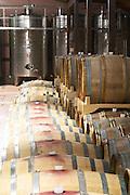 Oak barrels and stainless steel fermentation and storage tanks in the winery. Hercegovina Produkt winery, Citluk, near Mostar. Federation Bosne i Hercegovine. Bosnia Herzegovina, Europe.