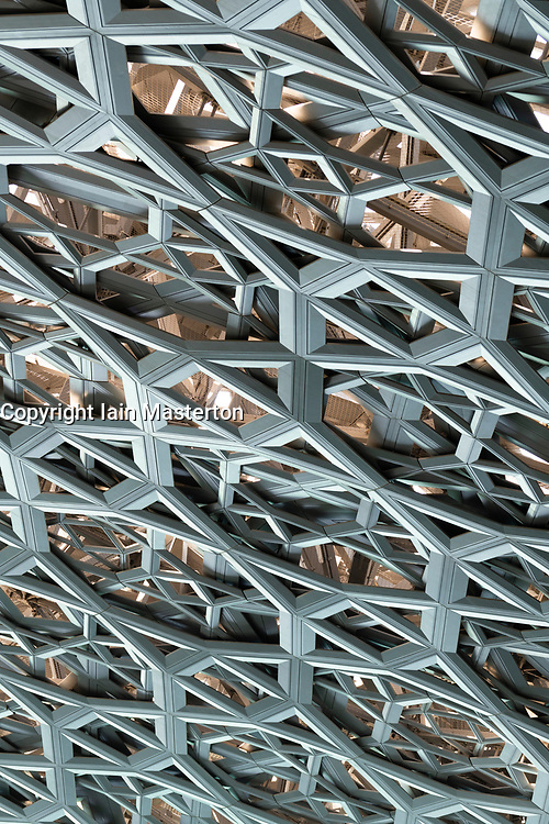 Detail of steel roof dome steelwork pattern of the Louvre Abu Dhabi at Saadiyat Island Cultural District in Abu Dhabi, UAE. Architect Jean Nouvel
