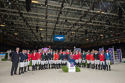 Group photo of the participating riders<br /> Longines FEI World Cup™ Jumping Final 2013/2014<br /> Lyon 2014<br /> © Dirk Caremans