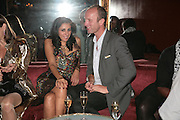 SERENA REES AND JOHNNIE SHAND KYDD, Agent Provocateur celebrate the launch of Agent Provocateur Maitresse Gold Edition. The Grill Room. Cafe Royal London. 3 October 2007. -DO NOT ARCHIVE-© Copyright Photograph by Dafydd Jones. 248 Clapham Rd. London SW9 0PZ. Tel 0207 820 0771. www.dafjones.com.